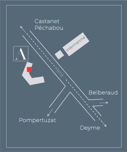 Plan pour venir à l'atelier pizzeria fine sur la n113 castanet